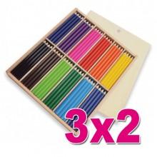 OFERTA 3X2 Lapiceros de Colores en caja de Madera