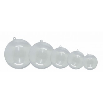 Pack 5 bolas plástico cristal 100 mm