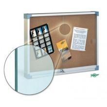 Vitrina para anuncios en corcho natural con puertas de cristal de seguridad