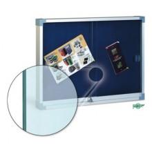 Vitrina para anuncios en corcho tapizado con puertas de cristal de seguridad