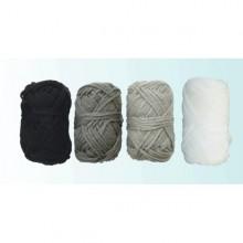 4 Ovillos de lana acrilica gris