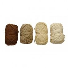 4 Ovillos de lana acrilica marrón
