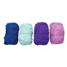 4 Ovillos de lana acrilica azul