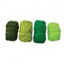 4 Ovillos de lana acrilica verde