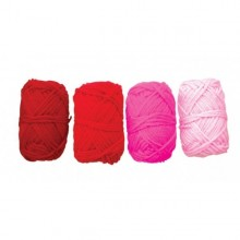 4 Ovillos de lana acrilica roja