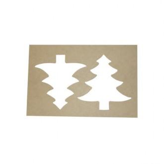 Pack 4 plantillas dobles con forma de árbol